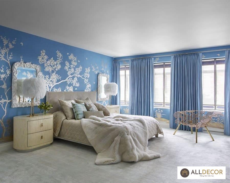 rèm vải cho tường màu xanh aqua