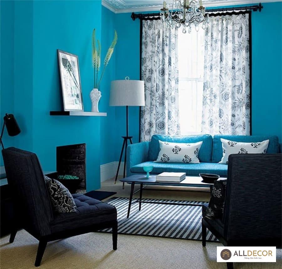 rèm vải cho tường màu xanh coban
