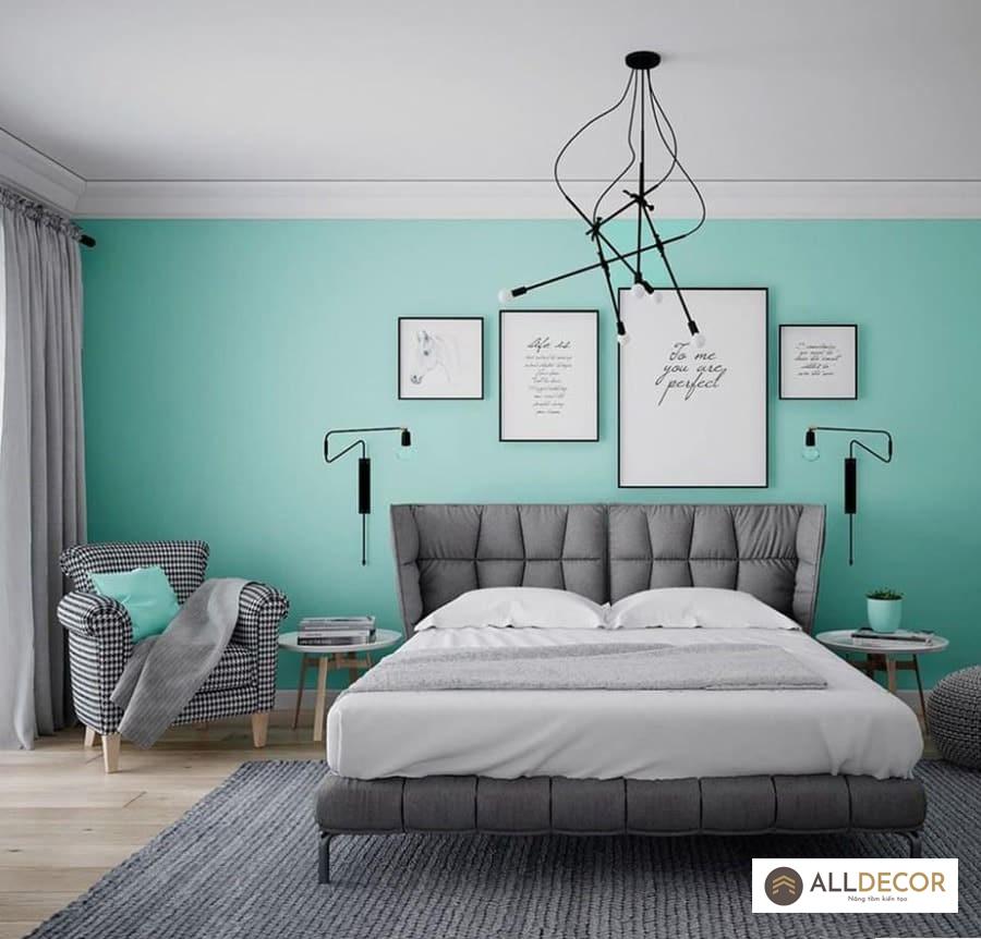 rèm vải cho tường màu xanh ngọc