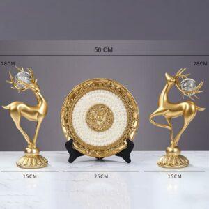 set decor trang trí cặp hươu la và đĩa ngọc ks066