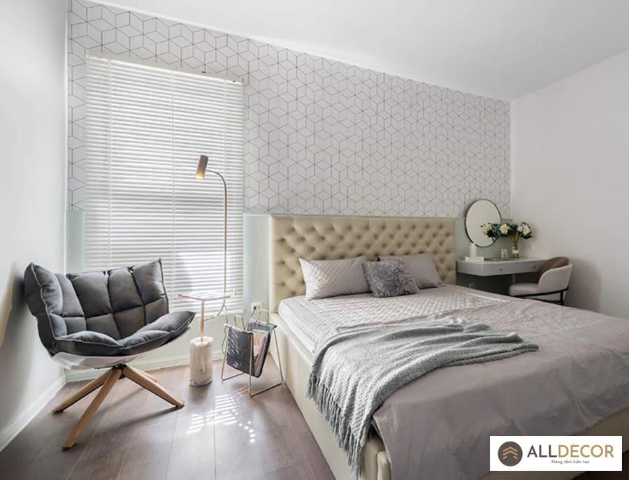 rèm sáo gỗ trắng phòng ngủ
