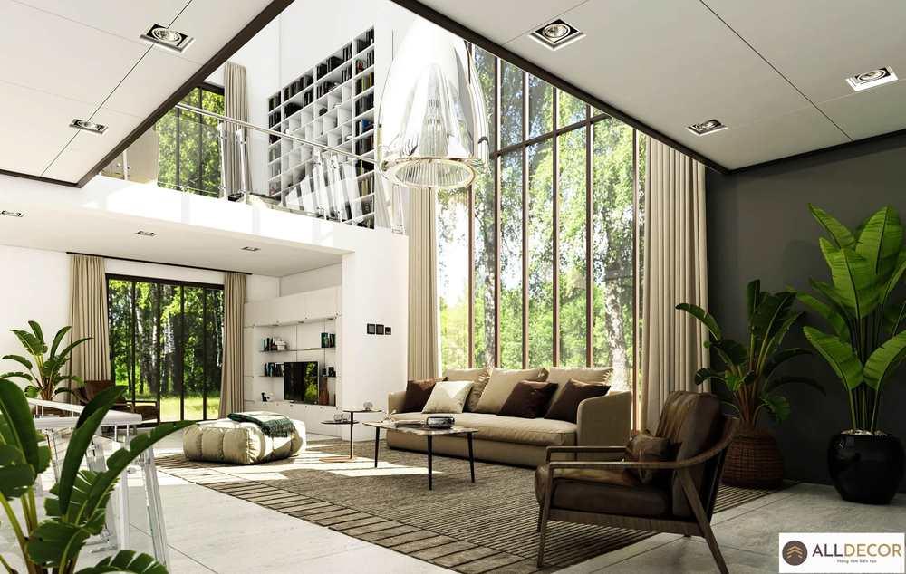 rèm vải cho phòng khách thiết kế nội thất hiện đại