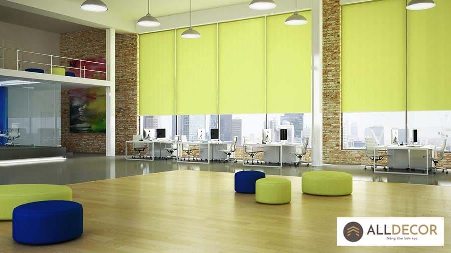 rèm cuốn văn phòng màu xanh lá cây