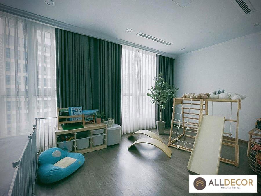 rèm phòng ngủ màu xanh lá cây