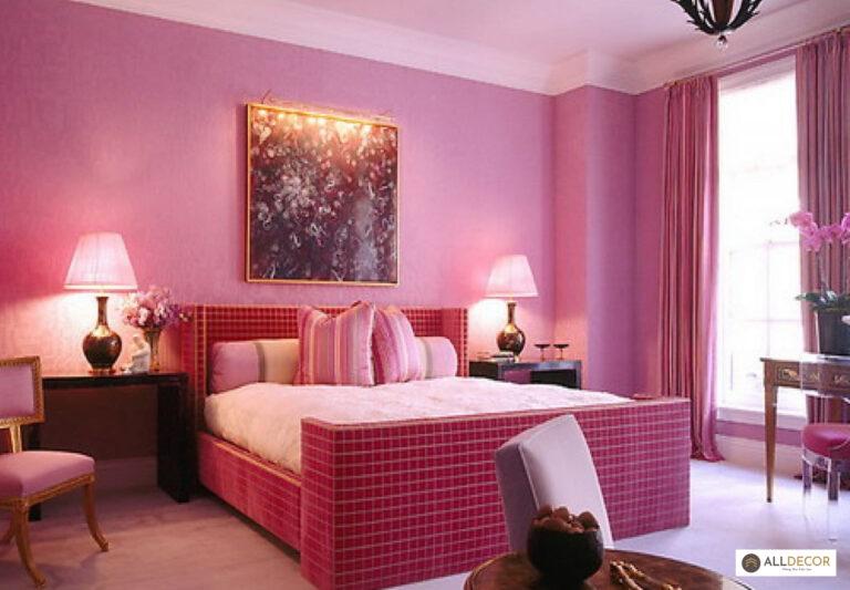 chọn rèm cửa cho màu sơn tường hồng