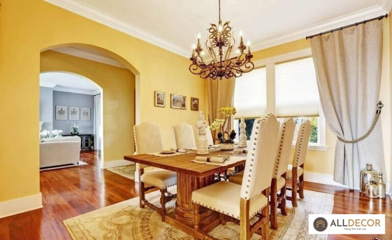 chọn rèm cửa cho màu sơn tường vàng