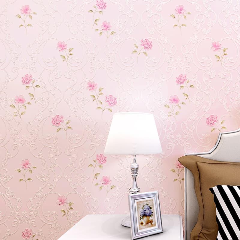 giấy dán tường màu hồng họa tiết
