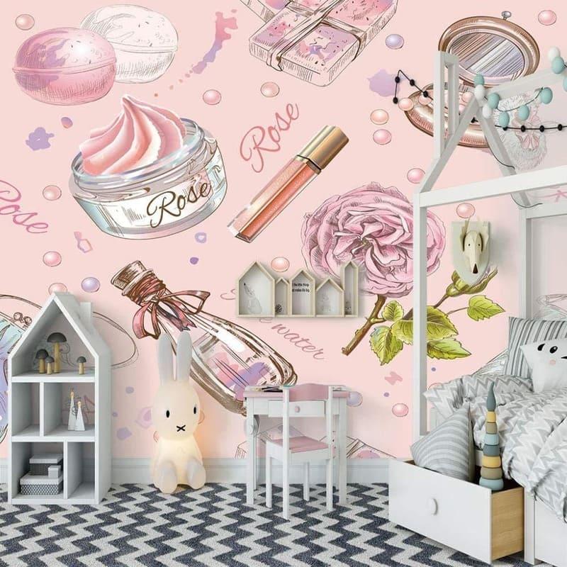 giấy dán tường màu hồng cho bé