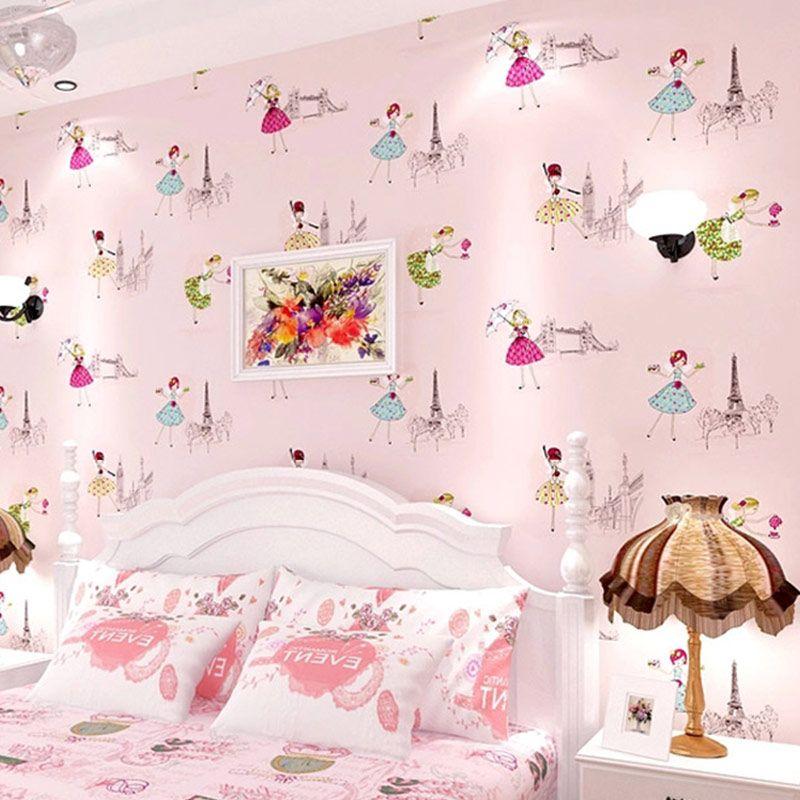 giấy dán tường phòng ngủ màu hồng cho bé