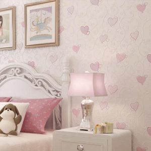 giấy dán tường phòng ngủ màu hồng nhạt cho bé gái