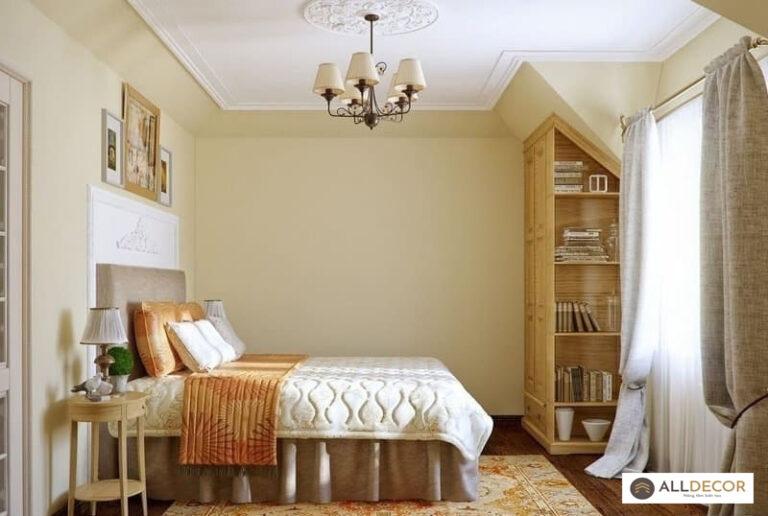tường màu kem rèm vải màu sáng